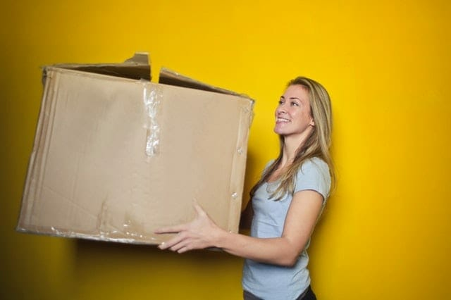 woman decluttering her home